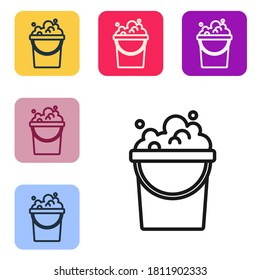 Black line Bucket with soap suds icon isolated on white background. Bowl with water. Washing clothes, cleaning equipment. Set icons in color square buttons. Vector