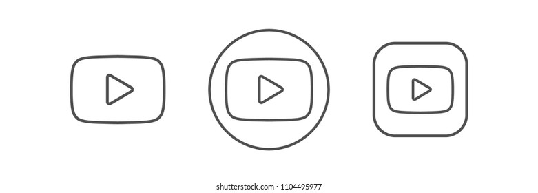 Black line buttons video player. YouTube logo line icon. Vector illustration. EPS 10