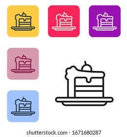 Black line Cake icon isolated on white background. Happy Birthday. Set icons in color square buttons. Vector Illustration