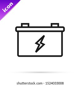 Black line Car battery icon isolated on white background. Accumulator battery energy power and electricity accumulator battery.  Vector Illustration