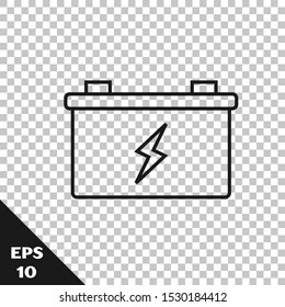 Black line Car battery icon isolated on transparent background. Accumulator battery energy power and electricity accumulator battery.  Vector Illustration