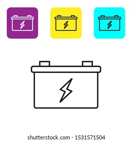 Black line Car battery icon isolated on white background. Accumulator battery energy power and electricity accumulator battery. Set icons colorful square buttons. Vector Illustration