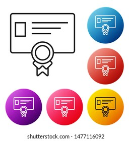 Black line Certificate template icon on white background. Achievement, award, degree, grant, diploma concepts. Business success certificate. Set icons colorful circle buttons. Vector Illustration