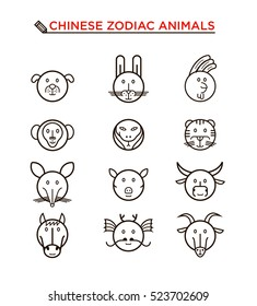 Black line Chinese zodiac animal icons