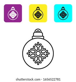 Black line Christmas ball icon isolated on white background. Merry Christmas and Happy New Year. Set icons colorful square buttons. Vector Illustration