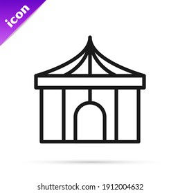 Black line Circus tent icon isolated on white background. Carnival camping tent. Amusement park.  Vector