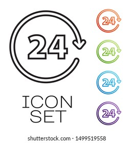 Black line Clock 24 hours icon isolated on white background. All day cyclic icon. 24 hours service symbol. Set icons colorful. Vector Illustration