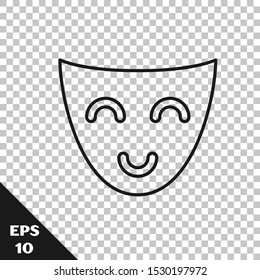 Black line Comedy theatrical mask icon isolated on transparent background.  Vector Illustration