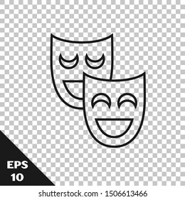 Black line Comedy theatrical masks icon isolated on transparent background.  Vector Illustration