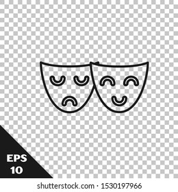 Black line Comedy and tragedy theatrical masks icon isolated on transparent background.  Vector Illustration
