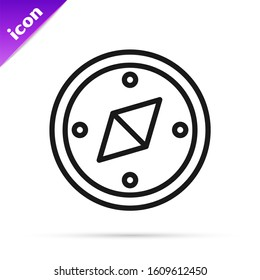 Black line Compass icon isolated on white background. Windrose navigation symbol. Wind rose sign.  Vector Illustration