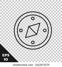 Black line Compass icon isolated on transparent background. Windrose navigation symbol. Wind rose sign.  Vector Illustration