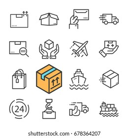 Black line Delivery icons set. Express Delivery, Fast Delivery, Tracking Order.