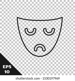Black line Drama theatrical mask icon isolated on transparent background.  Vector Illustration