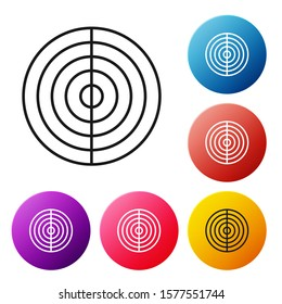 Black line Earth structure icon isolated on white background. Geophysics concept with earth core and section layers earth. Set icons colorful circle buttons. Vector Illustration