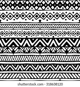 Black line ethnic mexican tribal stripes seamless pattern, hand drawn vector illustration, white background