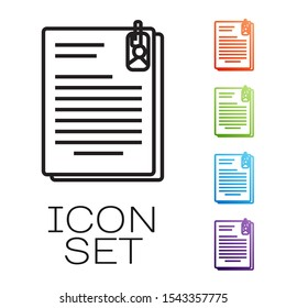 Black line File document and paper clip icon isolated on white background. Checklist icon. Business concept. Set icons colorful. Vector Illustration