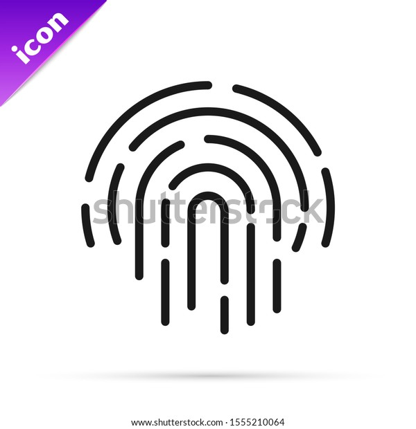 Black line Fingerprint icon isolated on white background. ID app icon. Identification sign. Touch id.  Vector Illustration