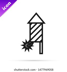 Black line Firework rocket icon isolated on white background. Concept of fun party. Explosive pyrotechnic symbol.  Vector Illustration