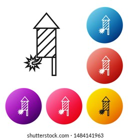 Black line Firework rocket icon isolated on white background. Concept of fun party. Explosive pyrotechnic symbol. Set icons colorful circle buttons. Vector Illustration