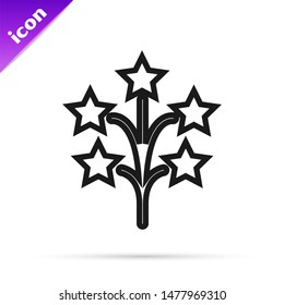 Black line Fireworks icon isolated on white background. Concept of fun party. Explosive pyrotechnic symbol.  Vector Illustration