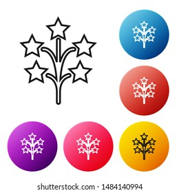 Black line Fireworks icon isolated on white background. Concept of fun party. Explosive pyrotechnic symbol. Set icons colorful circle buttons. Vector Illustration