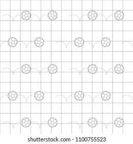 Black line football balls icon over black line grid. Vector illustration. Seamless pattern. Line art. Soccer ball. Football objects.