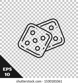 Black line Game dice icon isolated on transparent background. Casino gambling.  Vector Illustration