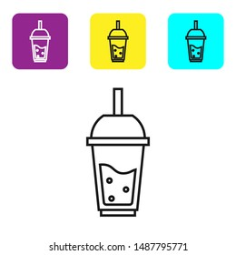 Black line Glass of lemonade with drinking straw icon isolated on white background. Set icons colorful square buttons. Vector Illustration