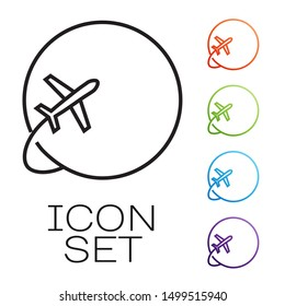 Black line Globe with flying plane icon isolated on white background. Airplane fly around the planet earth. Aircraft world icon. Set icons colorful. Vector Illustration