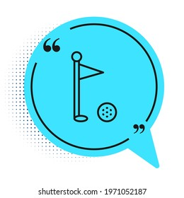 Black line Golf flag icon isolated on white background. Golf equipment or accessory. Blue speech bubble symbol. Vector
