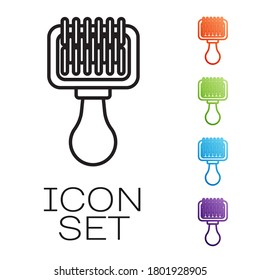 Black line Hair brush for dog and cat icon isolated on white background. Brush for animal fur. Pet accessory. Set icons colorful. Vector Illustration