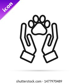 Black line Hands with animals footprint icon isolated on white background. Pet paw in heart. Love to the animals.  Vector Illustration