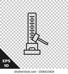 Black line High striker attraction with big hammer icon isolated on transparent background. Attraction for measuring strength. Amusement park.  Vector Illustration