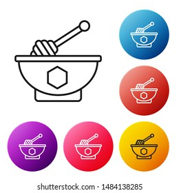 Black line Honey dipper stick and bowl icon isolated on white background. Honey ladle. Set icons colorful circle buttons. Vector Illustration