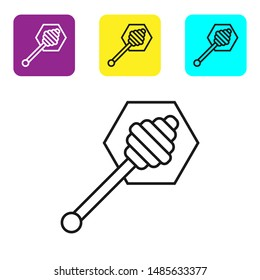 Black line Honey dipper stick icon isolated on white background. Honey ladle. Set icons colorful square buttons. Vector Illustration