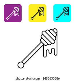 Black line Honey dipper stick with dripping honey icon isolated on white background. Honey ladle. Set icons colorful square buttons. Vector Illustration