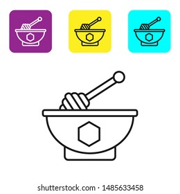 Black line Honey dipper stick and bowl icon isolated on white background. Honey ladle. Set icons colorful square buttons. Vector Illustration
