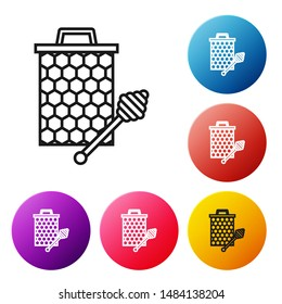 Black line Honeycomb with honey dipper stickicon isolated on white background. Honey ladle. Honey cells symbol. Sweet natural food. Set icons colorful circle buttons. Vector Illustration