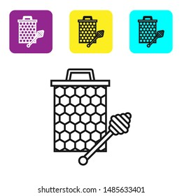 Black line Honeycomb with honey dipper stickicon isolated on white background. Honey ladle. Honey cells symbol. Sweet natural food. Set icons colorful square buttons. Vector Illustration