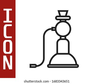 Black line Hookah icon isolated on white background. Vector Illustration