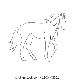Black line horse on white background. Vector icon drawn by one continuous line