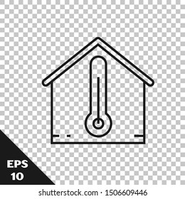 Black line House temperature icon isolated on transparent background. Thermometer icon.  Vector Illustration