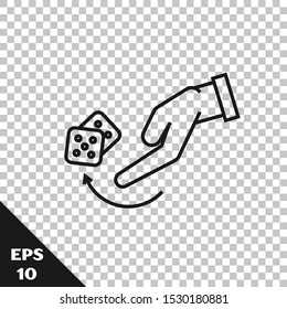 Black line Human hand throwing game dice icon isolated on transparent background.  Vector Illustration