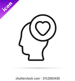 Black line Human head with heart icon isolated on white background. Love concept with human head.  Vector