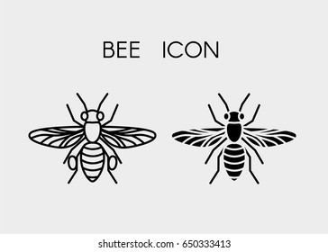 Black line icon of a bee. Outline vector icon.