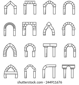 Black line icons vector collection of arches. Set of black line vector icons for different styles brick arches on white background.