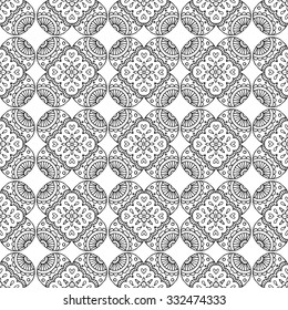 black line indian geometric mosaic seamless pattern, white background
