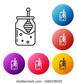 Black line Jar of honey and honey dipper stick icon isolated on white background. Food bank. Sweet natural food symbol. Honey ladle. Set icons colorful circle buttons. Vector Illustration