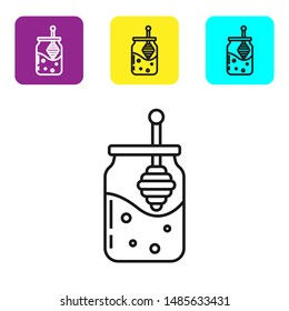 Black line Jar of honey and honey dipper stick icon isolated on white background. Food bank. Sweet natural food symbol. Honey ladle. Set icons colorful square buttons. Vector Illustration